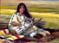 """Mother Love"" oil painting by Vel Miller Native American Print, Native American Beauty, Native American Artists, American Indian Art, Native American Indians, Jefe Seattle, Madonna, Southwestern Art, Southwest Decor"