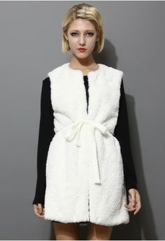 White Long Faux Shearling Vest