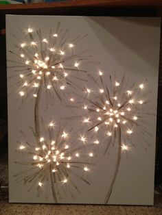 How to make a lighted canvas dandelion painting Canvas Crafts, Diy Canvas, Canvas Art, Fun Crafts, Diy And Crafts, Arts And Crafts, Diy Wall Art, Diy Art, Dandelion Painting