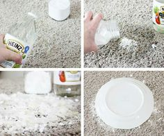 Cleaning Pet Stains out of Carpet- This actually worked! An few old pet stains that collected extra dirt (as they were right in front of the door). Used 2/3 white vinegar and 1/3 water. Then sprinkled with baking soda. Let it bubble and set (for a few hours or as long as you can stand it). Vacuum and TA-DA!!!! :) SERIOUSLY WORKED! (Trying it now on a couple of other spots.)