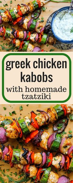 Greek Chicken Kabobs with Homemade Tzatziki via SO good! Made this with baked whole chicken breast. for 30 min. Rotate veggies and chicken after 20 min. Greek Chicken Kabobs, Greek Marinated Chicken, Grilled Chicken Kabobs, Baked Greek Chicken, Veggie Skewers, Grilled Chicken Recipes, Kebabs, Grilling Recipes, Cooking Recipes