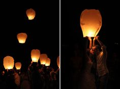 Real life floating lanterns + Wedding = perfect Rapunzel recreation! Beautiful!
