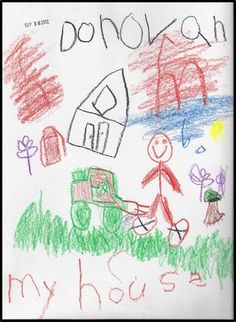 """Enjoy this audio. After children sing, sign, and spell """"house,"""" they label their drawings.  """"This Is My House"""" is the children's favorite song from the CD Sing, Sign, Spell, and Read! by Nellie Edge and Gina Edge. Photo from Winter Curry's kindergarten in September."""