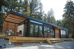 long prefab home with porch
