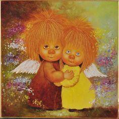 Купить Ангелы дарящие любовь. Картина маслом - ангелы дарящие любовь, ангелочки…