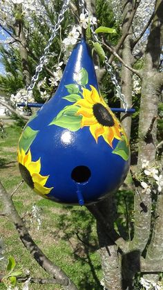 Navy And Sunshine Brilliant Sunflower Wren Gourd Birdhouse