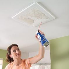 How to Clean a Bathroom Exhaust Fan (a firefighters wife begs you to clean these things, they are a VERY common cause of fires!)  Use a blast of canned air to quickly clean dust from the wall and ceiling grilles of vent fans and heating/air conditioning systems.