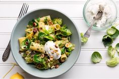 Rigatoni with Brussels sprouts, leeks, and lemon