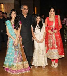 #Sridevi with Boney Kapoor and her daughter Jhanvi and Khushi.