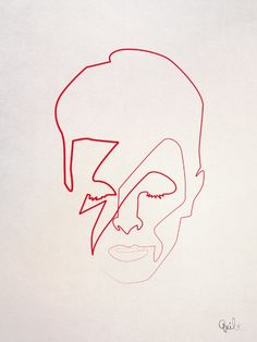 One line Aladdin Sane Canvas Print