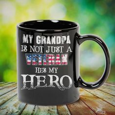 My Grandpa Is Not Just A Veteran He's My Hero Great t-shirts, mugs, bags, hoodie, sweatshirt, sleeve tee gift for grandpa, granddad, grandfather from grandson, granddaughter, or any girls, boys, grandchildren, grandkids, friends, men, women on birthday, mother's day, father's day, grandparents day, Christmas or any anniversaries, holidays, occasions. Grandchildren, Grandkids, Grandpa Quotes, Sweatshirt, Hoodie, Grandparents Day, Grandpa Gifts, Great T Shirts, Girl Gifts