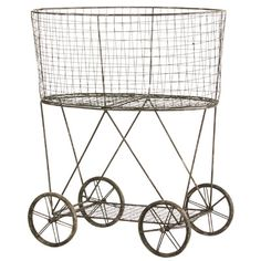 Cape Craftsmen Metal Wire Basket on Wheels & Reviews | Wayfair
