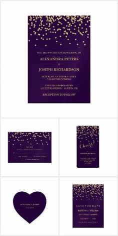 Glamorous Gold Confetti and Deep Purple Wedding Invitation Suite - see the whole collection!