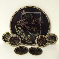 Nevada Sagebrush State Beverage Tray with Matching 6 Coasters - Black and Gold - Metal by littlewoodenhouse on Etsy