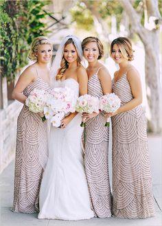 glitzy bridesmaid dresses @weddingchicks