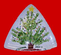 Hand prints Christmas tree plate- grandma would treasure this forever (hint hint)