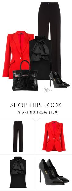 """Red"" by ksims-1 ❤ liked on Polyvore featuring Damsel in a Dress, Alexander McQueen, Yves Saint Laurent and Hermès"