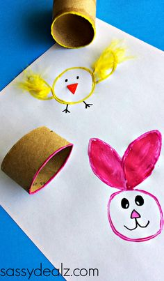 Toilet Paper Roll Easter Crafts #Easter craft for kids #DIY  #Stamping | CraftyMorning.com