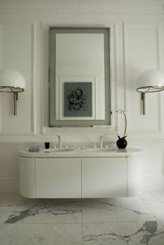 beautiful oval cabinet space for his and her inset sinks under a shared vanity. #Sinks #Vanity #Bathroom #ibtsdiego