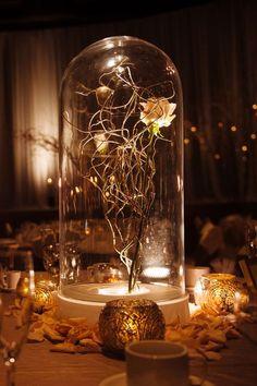 Beauty and the Beast Wedding Centerpieces / http://www.himisspuff.com/glass-cloche-bell-jar-wedding-ideas/3/