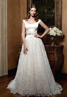 Vintage Satin Off the Shoulder Princess Natural Waist Floor Length Wedding Gowns