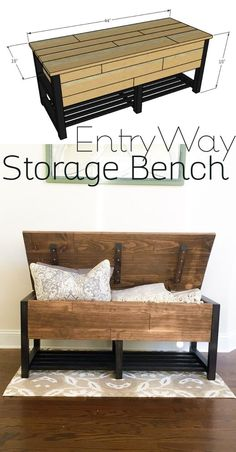 Entryway storage bench DIY Woodworking Plans