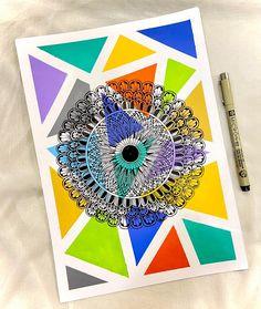 Easy Mandala Drawing, Simple Mandala, Doodle Art Drawing, Dark Art Drawings, Mandala Art Therapy, Mandala Art Lesson, Mandala Artwork, Crayon Painting, Watercolor Art Lessons