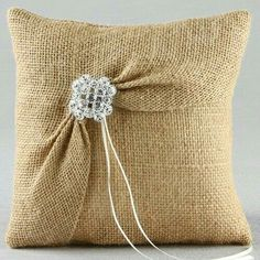 Burlap and Lace Ring Pillow Garbo Burlap Ring Bearer Pillow Burlap Ring Pillows, Ring Bearer Pillows, Diy Pillows, How To Make Pillows, Decorative Pillows, Throw Pillows, Tshirt Garn, Lace Ring, Ring Pillow Wedding