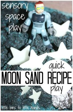 Space Frontier Moon Sand Space Sensory Play Recipe - Moon sand is a quick and easy recipe to make for sensory play! Our moon sand space sensory play is perfect for indoor and outdoor play anytime! Space Activities For Kids, Moon Activities, Space Preschool, Sensory Activities, Outer Space Crafts For Kids, Sensory Bins, Indoor Activities, Space Books For Kids, Abc Preschool