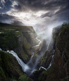 """""""Valley of Light"""" - Vøringsfossen waterfall Norway. By Janne Kahila. [1274x1500]"""