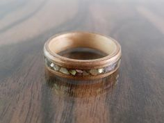 Wood Ring Walnut Sycamore and Abalone Shell by ZebranoWoodCraft, £55.00