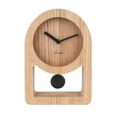 Karlsson Lena Tafelklok Pendulum MDF/Houtfineer 25 x 17 x Bruin Tabletop Clocks, Wood Clocks, Small Clock, London Clock, Pile Aa, Desktop Clock, Brick Molding, Pendulum Clock, Modern Clock