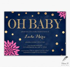 Navy & Pink Glitter Baby Shower Invitations - Printed or Printable, Gold Floral Chalkboard Couples Twins Blue Confetti Oh Baby Girl - #018