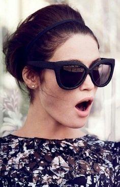 Gemma Arterton // updo, cat-eye sunglasses & print dress #style #fashion #celebrity
