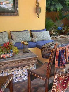 Colorful Outdoor Rooms - Bohemian Home Living Room Outdoor Seating, Outdoor Rooms, Outdoor Living, Moroccan Design, Moroccan Decor, Moroccan Style, Bohemian Porch, Bohemian Pillows, Bohemian House