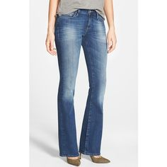 Mavi Jeans 'Ashley' Stretch Bootcut Jeans ($118) ❤ liked on Polyvore featuring jeans, mid tribecca, blue jeans, bootcut jeans, mavi, faded blue jeans and stretchy jeans