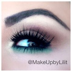 .@makeupbylilit | Added a hint of mint for spring! Products used: @anastasiabeverlyhills products; Bold & Beautiful eyebrow and eyeshadow kit. Anastasia perfect brow pencil in Brunette. Waterproof Covet Liner in Vert on the bottom lash line with Hypercolor Hair and Brow powder in Teal Tornado to intensify. Nars highlight in Albatross. Lashes are from @houseoflashes in Noir Fairy BLK