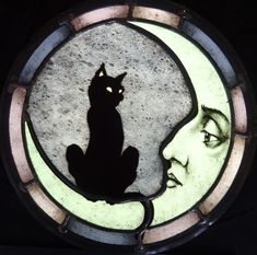 Cat And Moon Stained Glass by David Fode Stained Glass Designs, Stained Glass Projects, Stained Glass Patterns, Stained Glass Art, Stained Glass Windows, Fused Glass, Stained Glass Tattoo, Glass Vase, Glass Wall Art