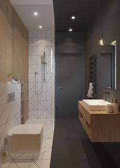 Scandinavian Bathroom Tiles are the top of the line luxury b. Obtain More Attractive Scandinavian Bathroom Tiles Ideas Minimalist Bathroom Design, Modern Bathroom Design, Bathroom Interior Design, Bathroom Designs, Bathroom Ideas, Interior Ideas, Bathroom Trends, Chic Bathrooms, Amazing Bathrooms