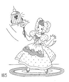 Sunbonnet Sue vintage little girl embroidery pattern 3 dusting birdcage Wool Embroidery, Embroidery Transfers, Silk Ribbon Embroidery, Hand Embroidery Patterns, Vintage Embroidery, Cross Stitch Embroidery, Embroidery Designs, Chiffon, Yarn Crafts