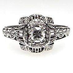 ART DECO ANTIQUE DIAMOND ENGAGEMENT RING SOLID 18K WHITE GOLD