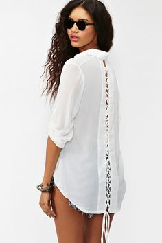 Nasty Gal Laced Tail Blouse White in White