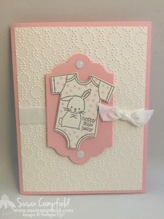 Made With Love, Lots of Labels & Baby's First Framelits, Elegant Dots EF, White Perfect Accents, Whisper White Seam Binding Baby Girl Cards, New Baby Cards, Your Cards, Shower Bebe, Love Stamps, Stamping Up Cards, Baby Shower Cards, Welcome Baby, Baby Kind