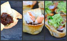 EASY Wonton cups with bacon, jam, shrimp and guacamole recipe from food blogger chef