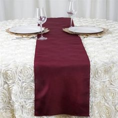 """BURGUNDY Polyester Runner - Table Top Wedding Catering Party Decorations - 12x108"""""""
