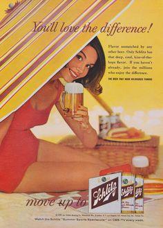 1960s Schlitz Beer Ad Mad Men Era Vintage Advertisement Retro Woman Under Beach Umbrella Photo Print Bar Pub Tavern Wall Art Decor by AdVintageCom on Etsy https://www.etsy.com/listing/248321710/1960s-schlitz-beer-ad-mad-men-era