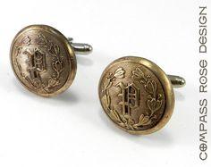 Vintage Industrial Cuff Links, Initial P, Antique Brass Uniform Button Cufflinks, Chicago Detective Publishing
