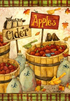 0446FL - Large Flag - FALL's OWL PRIMITVE APPLES CIDER SALE Basket - Thanksgivin