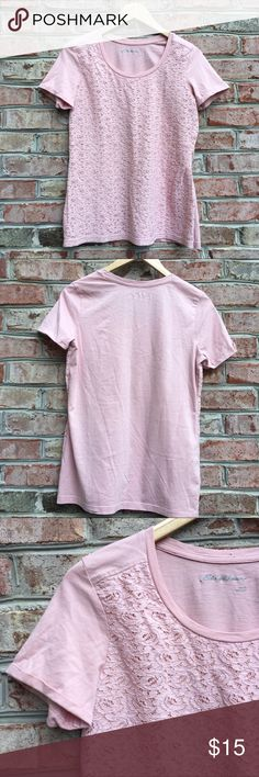 """Eddie Bauer Blush Pink Floral Lace Front Top Eddie Bauer Blush Pink Floral Lace Front Top. 100% cotton. Pit to pit 18""""/ length 26"""" Eddie Bauer Tops"""