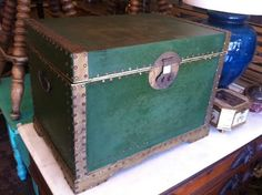 This vintage hand crafted trunk in green has a unique hand tacked trim and a black lacquered interior finish. Los Angeles Sunset, Vintage Storage, Vintage Green, Hope Chest, Vintage Furniture, Trunks, Decorative Boxes, Day, Unique